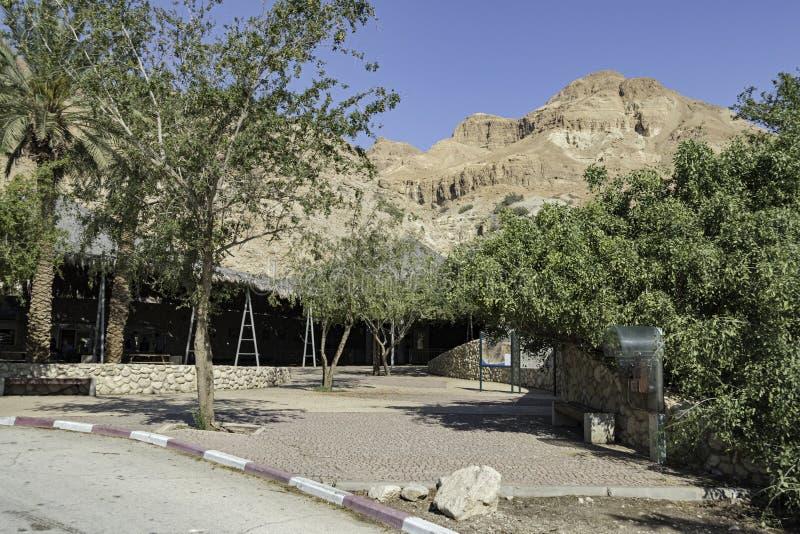 Montagem Yishai Rises acima da entrada ao parque de Ein Gedi em Israel fotografia de stock royalty free