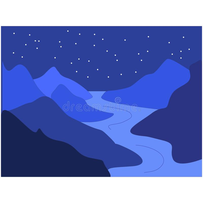 Montagens noturnas em cores azuis ilustração royalty free
