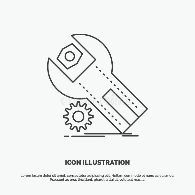 montages, App, installatie, onderhoud, de dienstpictogram Lijn vector grijs symbool voor UI en UX, website of mobiele toepassing royalty-vrije illustratie