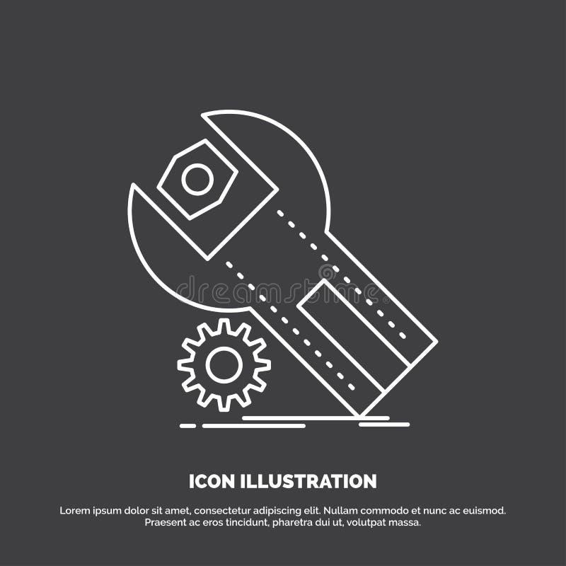 montages, App, installatie, onderhoud, de dienstpictogram Lijn vectorsymbool voor UI en UX, website of mobiele toepassing stock illustratie