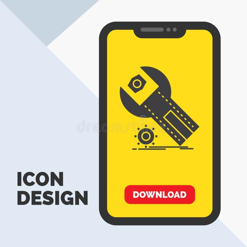 montages, App, installatie, onderhoud, het Pictogram van de dienstglyph in Mobiel voor Downloadpagina Gele achtergrond royalty-vrije illustratie