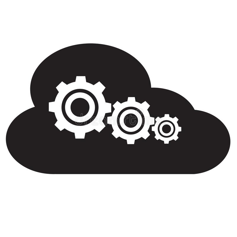 Montages van het pictogram van de wolkenopslag op witte achtergrond Vlakke stijl wolk gegevensverwerkingspictogram voor uw websit royalty-vrije illustratie
