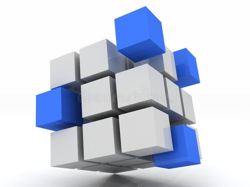 Montaggio blu del cubo dai blocchi illustrazione vettoriale
