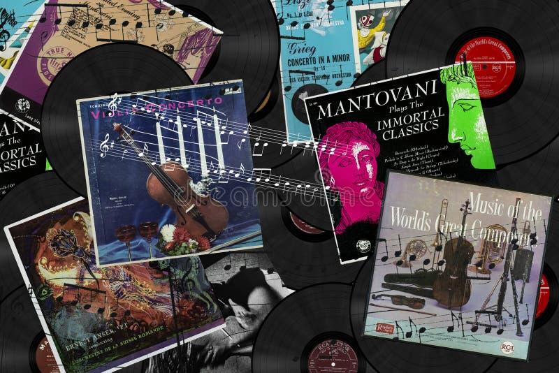 Montaggio dei LPs degli album di Clasical con le note fotografia stock