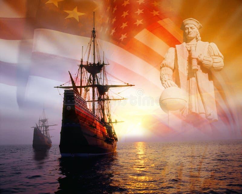 Montaggio della foto: Christopher Columbus, bandiera americana, navi di navigazione immagine stock libera da diritti