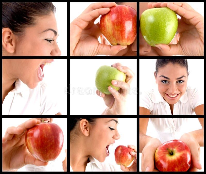 Montaggio della foto della donna che mangia mela fotografie stock libere da diritti