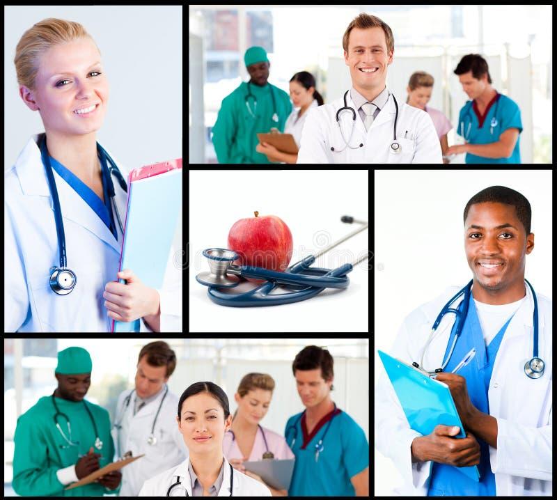 Montaggio di funzionamento felice dei medici fotografie stock