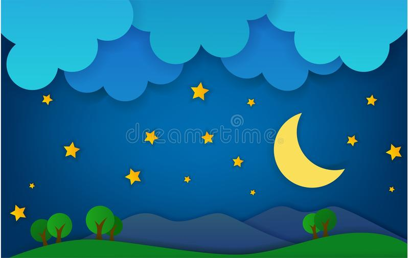 Montagna al paesaggio di fantasia di notte illustrazione vettoriale
