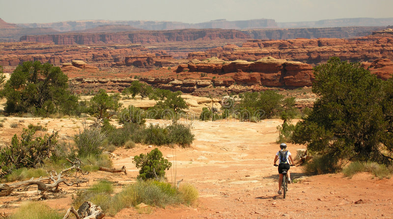 Montagna che Biking Canyonlands fotografia stock