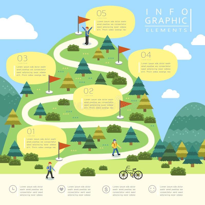 Montagna che fa un'escursione progettazione infographic illustrazione di stock