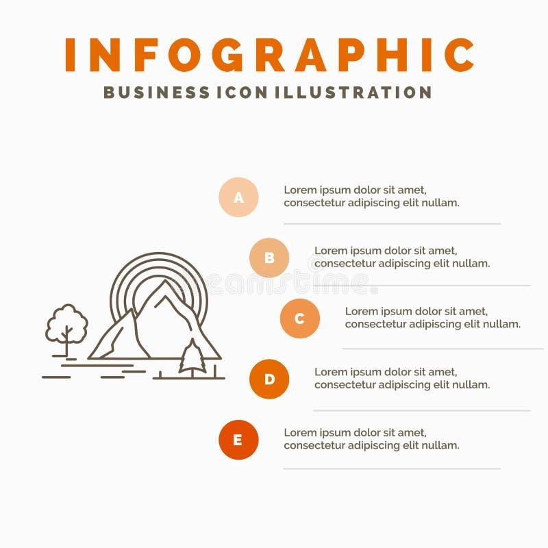 Montagna, collina, paesaggio, natura, modello di Infographics dell'arcobaleno per il sito Web e presentazione Linea icona grigia  illustrazione di stock
