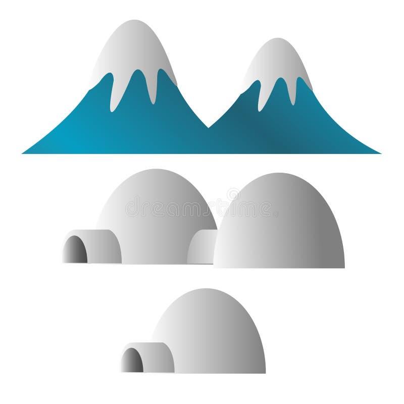 Montagna coperta di illustrazione della ghiacciaia dell'eschimese e della neve illustrazione di stock