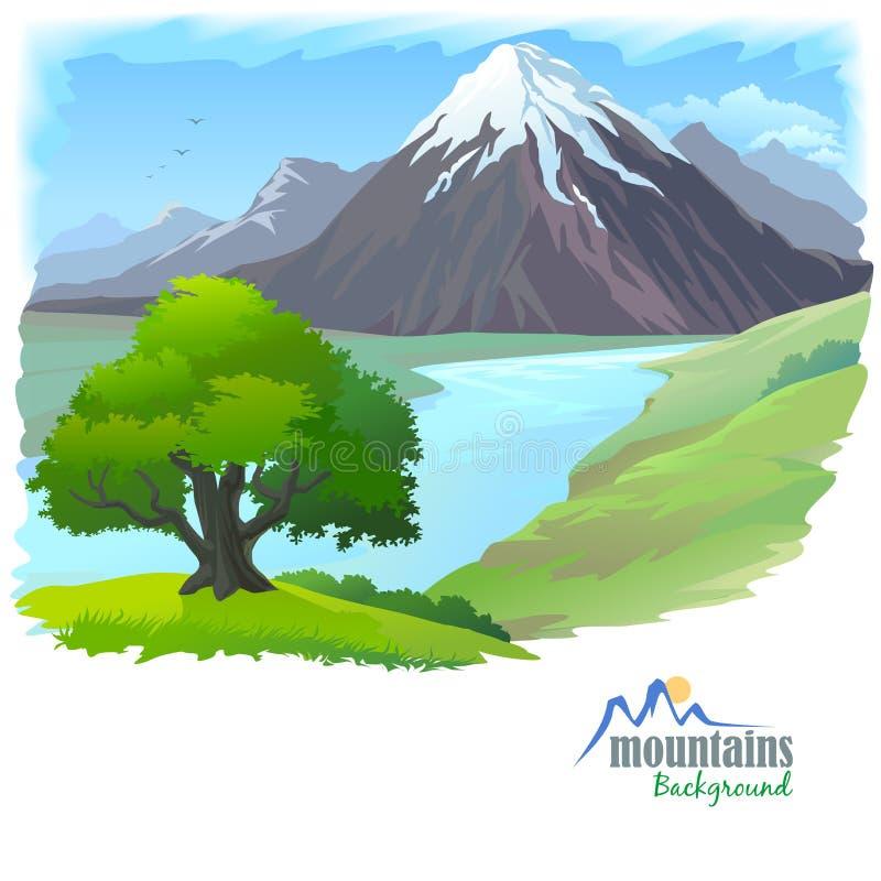 Montagna della neve, fiume ed albero solo illustrazione vettoriale