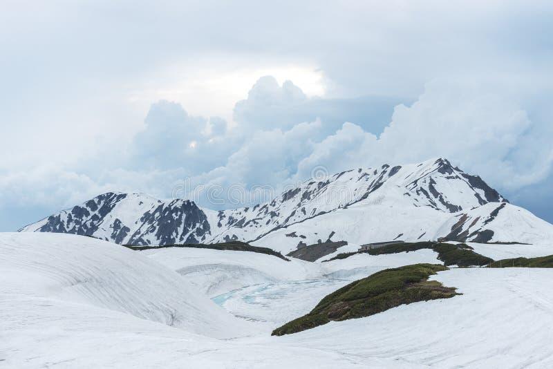 Montagna della neve in itinerario alpino di Tateyama Kurobe, Giappone fotografia stock