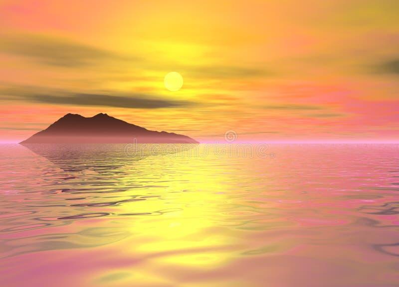 Montagna dello sbarco di paesaggio dell'isola dell'oceano nella distanza illustrazione di stock