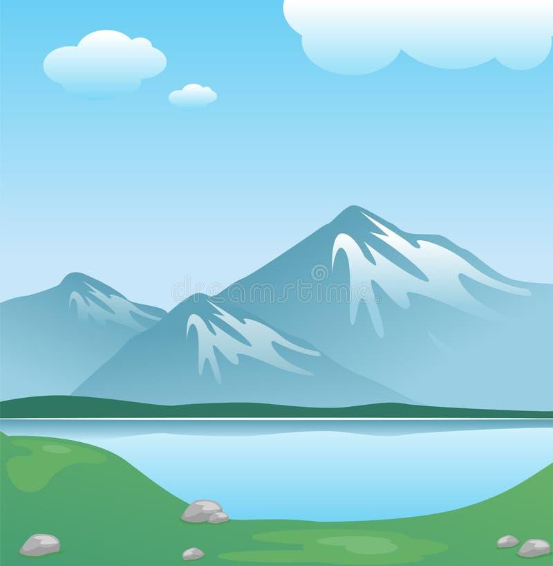 Montagna dello Snowy con le nubi e lago con erba royalty illustrazione gratis
