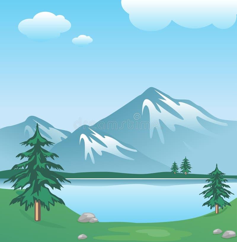 Montagna dello Snowy con le nubi, il lago, gli alberi e l'erba illustrazione di stock