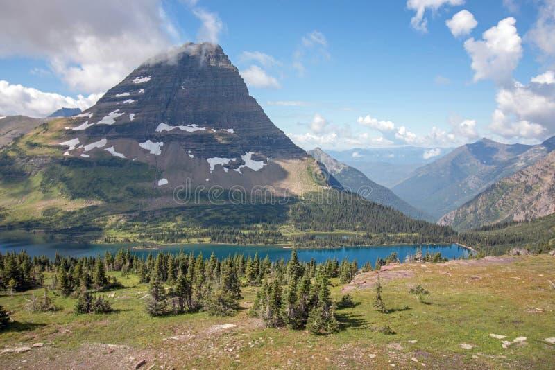 Montagna di Bearhat, lago nascosto, Glacier National Park fotografia stock libera da diritti