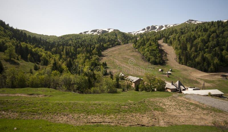 Montagna di Bjelasica con i picchi nevosi immagine stock