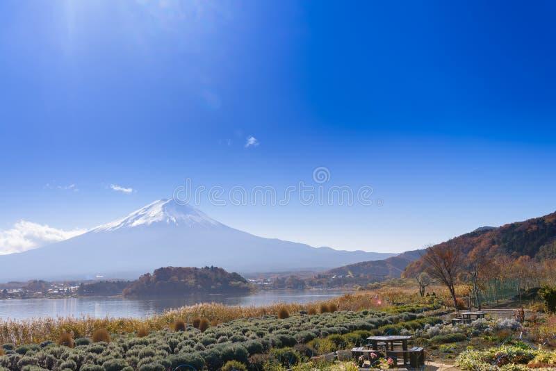 montagna di Fuji sulla vista del fondo del cielo blu dal kawaguch del lago fotografia stock libera da diritti