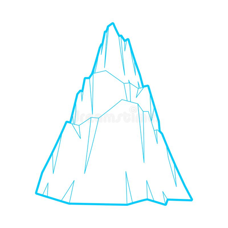 Montagna di ghiaccio isolata Roccia della neve Illustrazione di vettore dell'iceberg illustrazione vettoriale