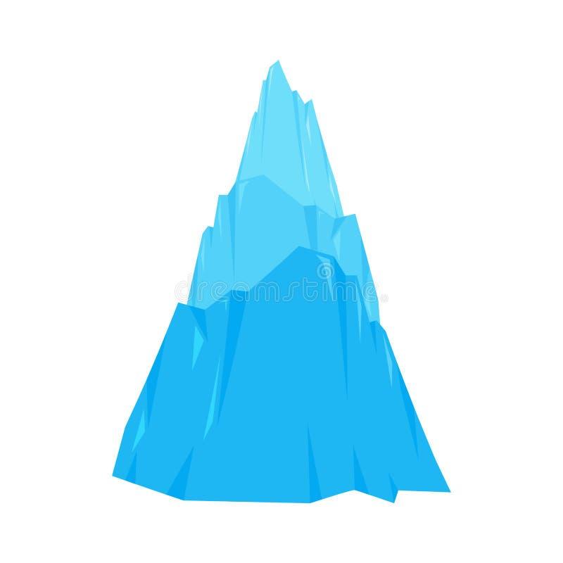 Montagna di ghiaccio isolata Roccia della neve Illustrazione di vettore dell'iceberg royalty illustrazione gratis