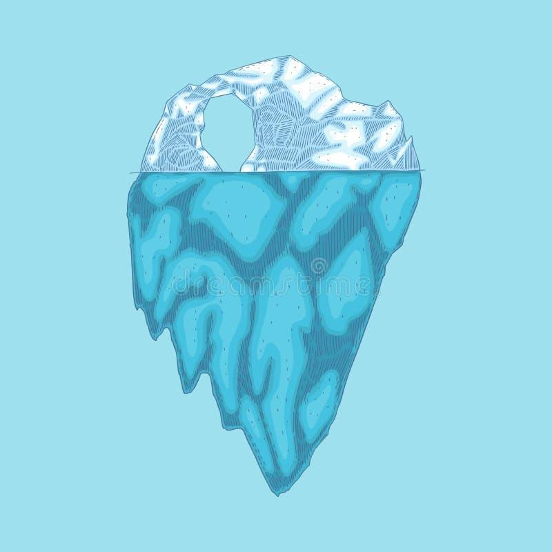 Montagna di ghiaccio polare dell'iceberg di vettore, icona del ghiacciaio illustrazione di stock