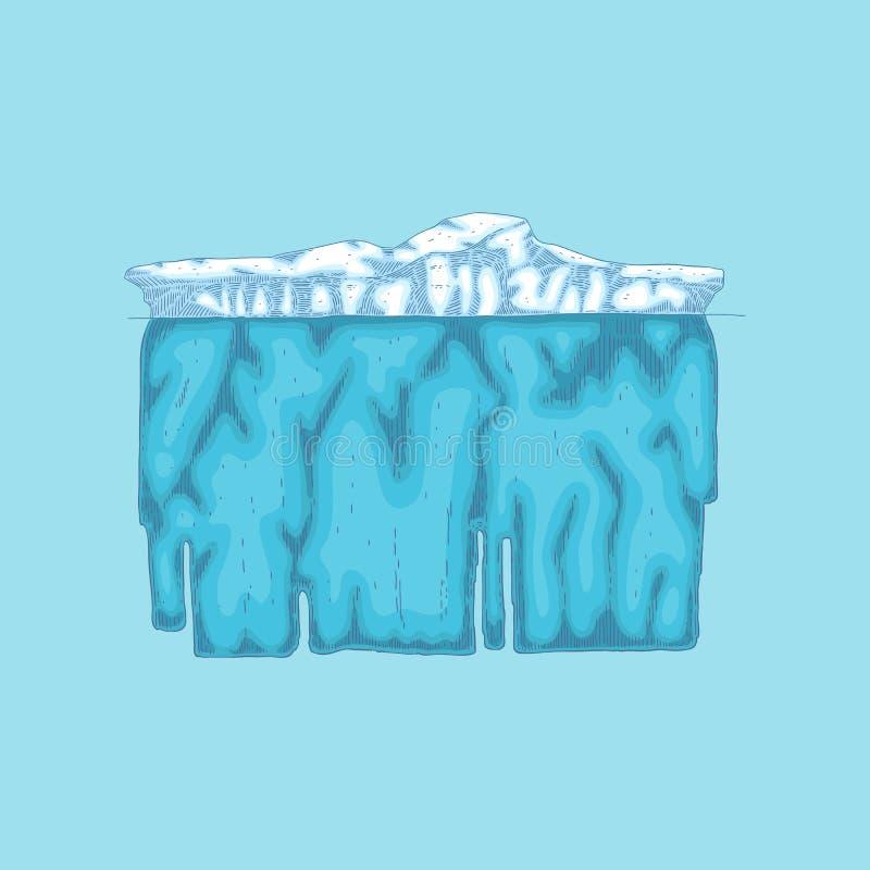 Montagna di ghiaccio polare dell'iceberg di vettore, icona del ghiacciaio royalty illustrazione gratis
