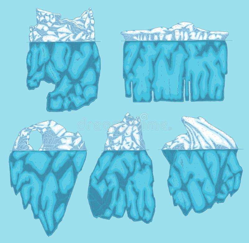 Montagna di ghiaccio polare dell'iceberg di vettore, icona del ghiacciaio illustrazione vettoriale