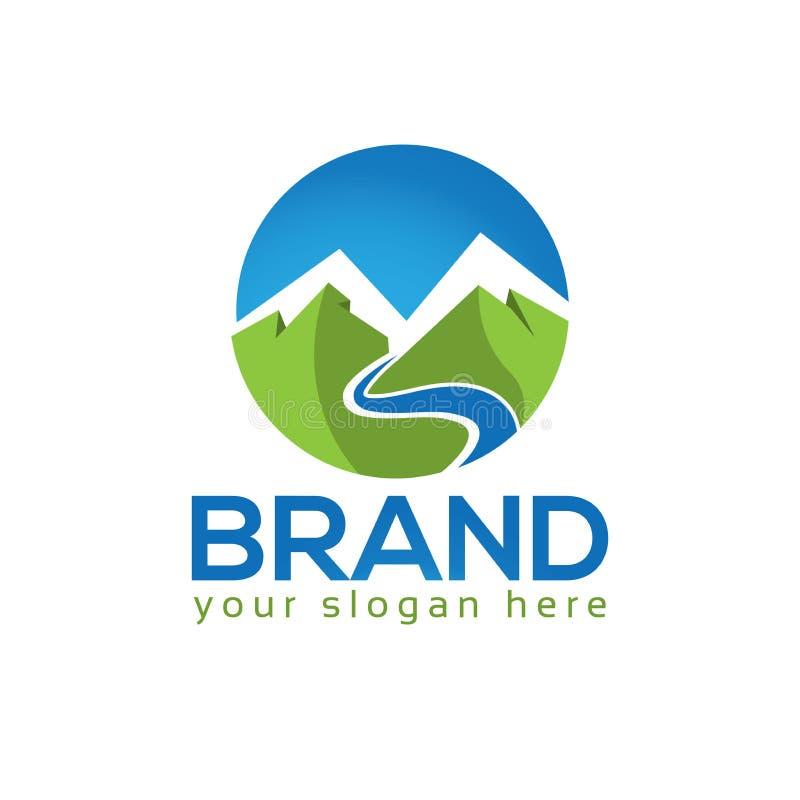 Montagna e modello di logo dei fiumi, icona di vettore royalty illustrazione gratis