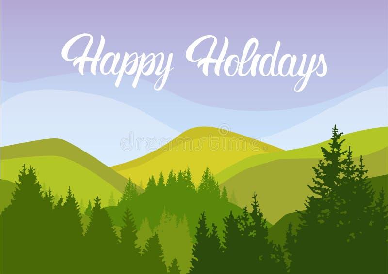 Montagna felice Forest Sky Woods del paesaggio di estate di festa illustrazione vettoriale