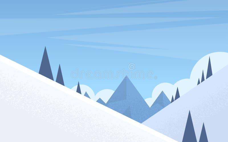 Montagna Forest Landscape Background, legno di inverno degli alberi della neve del pino illustrazione di stock