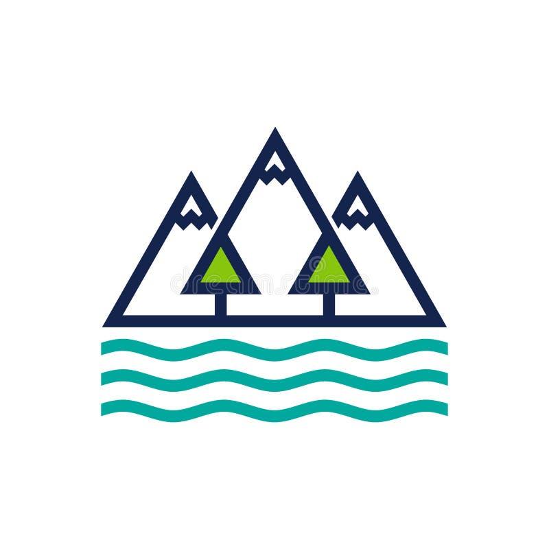 Montagna, foresta ed oceano Logo Design Template illustrazione di stock