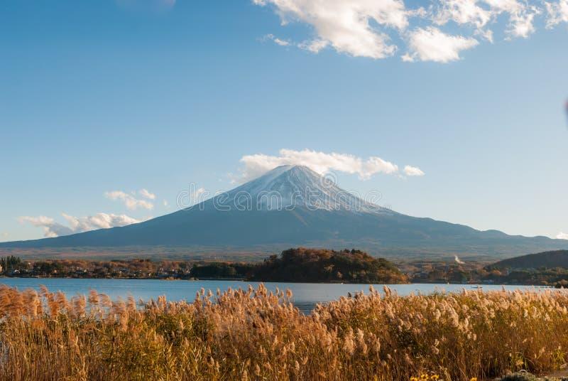 Montagna Fuji al kawaguchiko del lago nella stagione di autunno immagini stock