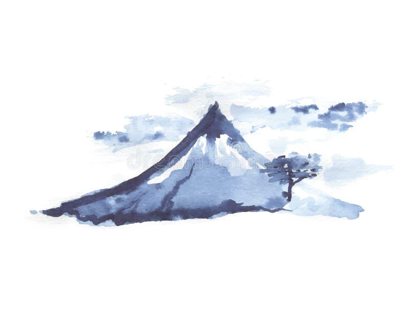 Montagna Fuji, arte giapponese, illustrazione di vettore illustrazione vettoriale