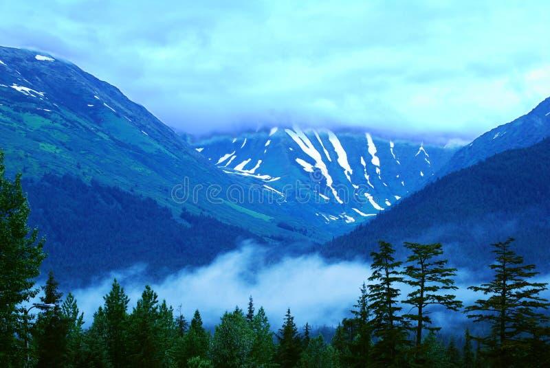 Montagna innevata nell'Alaska fotografia stock