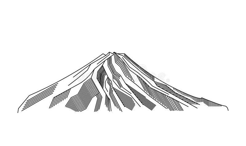 Montagna, linea illustrazione del vulcano di vettore di arte Simbolo del profilo di Fuji del Giappone illustrazione di stock