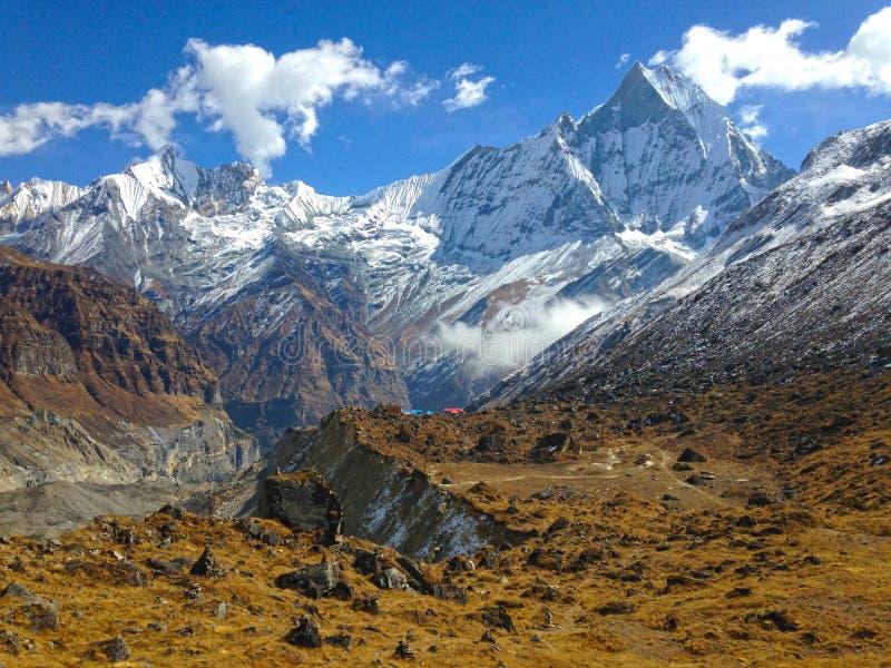 Montagna Machapuchare e cresta immagine stock libera da diritti