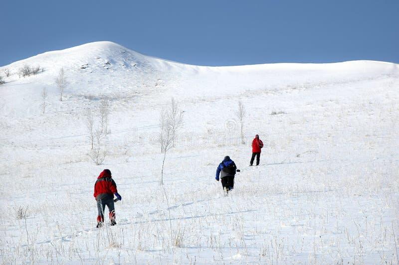 Montagna rampicante della neve immagini stock