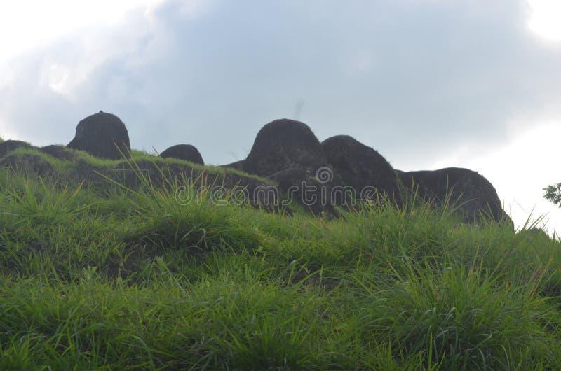 montagna rocciosa con molto l'erba di verde intorno all'isola di Dewata Bali fotografia stock libera da diritti