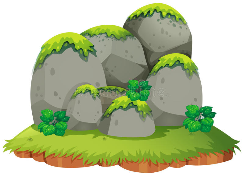 Montagna rocciosa sull'isola illustrazione vettoriale