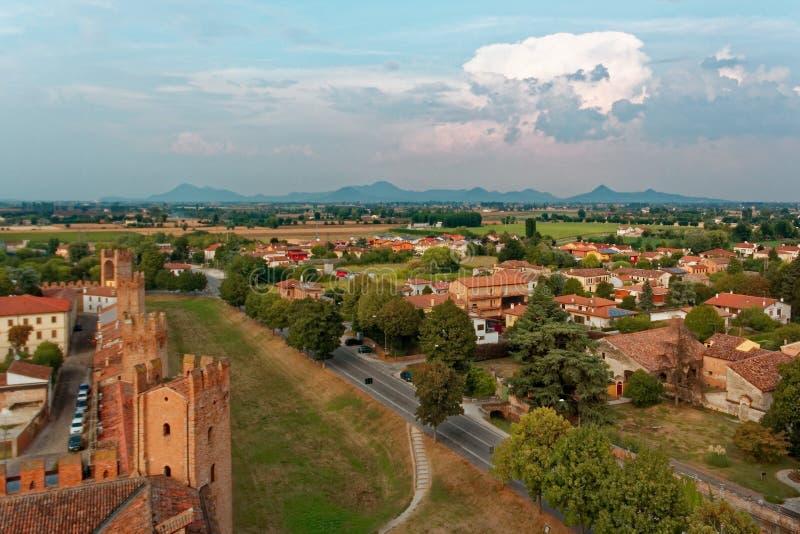 Montagnana, Italie - 24 août 2018 : Vue panoramique de la forteresse de ville de la tour images stock