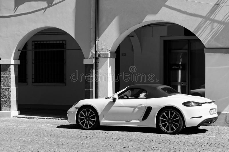 Montagnana, Italy, August 27, 2018: A beautiful car is parked on a city street. Montagnana, Italy, August 27, 2018: A beautiful car is parked on a city street royalty free stock photography