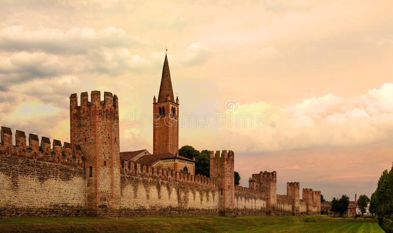Montagnana, Italy - August 6, 2017: a fortified city wall made of red brick. royalty free stock photos
