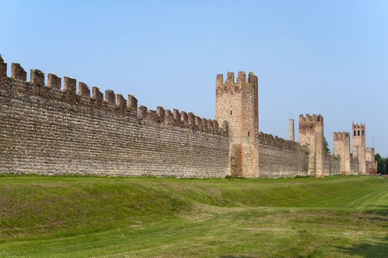 Montagnana (Padua, Italien) - mittelalterliche Wände stockfoto