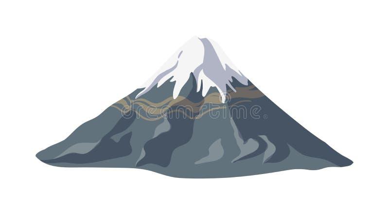 Montagne avec de la glace ou la neige sur elle et pente rocheuse d'isolement sur le fond blanc Forme de relief ou point de rep?re illustration libre de droits