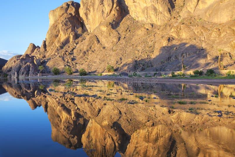 Montagne avec des réflexions en rivière, oasis de Fint. image libre de droits