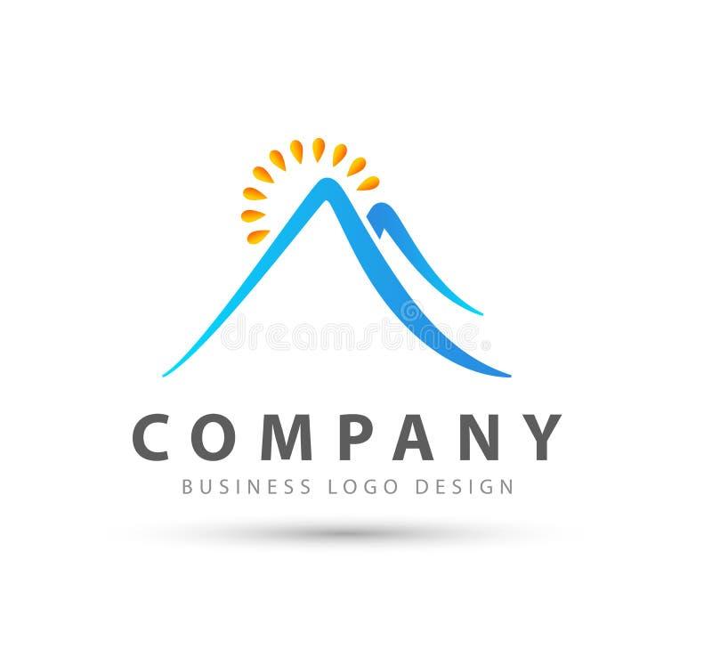 Montagne avec le logo de rayon du soleil pour votre société illustration libre de droits