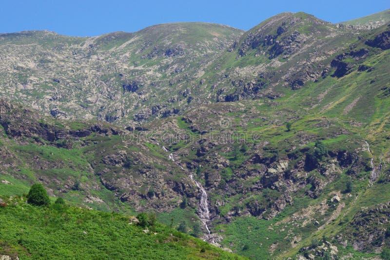 Montagne avec ses prés et courants verts image libre de droits