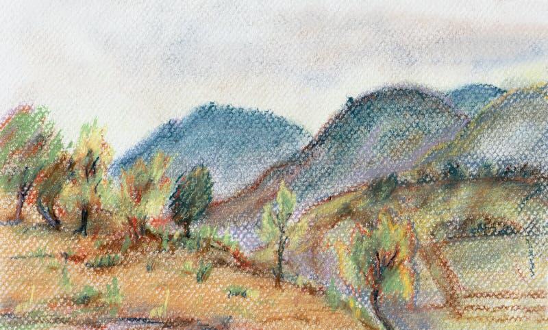 Download Montagne basse in Erge illustrazione di stock. Illustrazione di alberi - 30830063